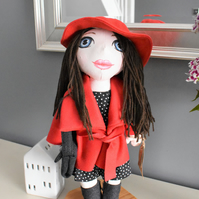 Handmade doll in red