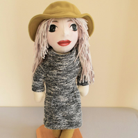 Miss in a hat handmade doll