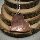 Hammered Copper Heart Pendant with Silver chain