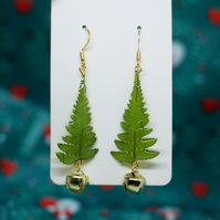 Christmas Tree Earrings, Gold Plated Brass Wire, Xmas Bell