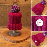 Luxury Ribbed Beanie with large Pom Pom