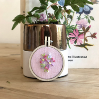 Pink Floral Mini Embroidery Hoop Art