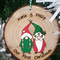 Our First Christmas Bauble Gonk Nordic Gnome Personalised Hand Painted Gift