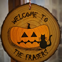 Halloween Decoration Personalised Spooky Pumpkin & Cat Hanging Welcome Sign Gift