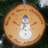Personalised Christmas Bauble Snowman Tree Decoration Hand-painted Family Gift