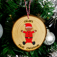 Baby's First Christmas Bauble Personalised Decoration Hand-Painted Gift Diverse