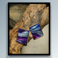 Acrylic art rectangle earrings