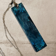 Teal resin pendant necklace