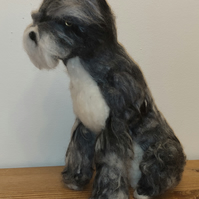 Needle felted dog wool sculptures