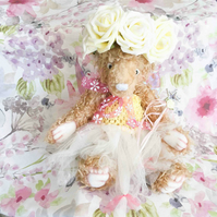 Susie fairy bear, hand sewn collectible teddy bear with wings