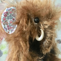 Marnie, wooly mammoth bear,  hand sewn collectible artist bear, clay tusks.