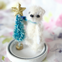 Alfred, miniature Christmas bear, hand sewn collectible bear in hanging dome