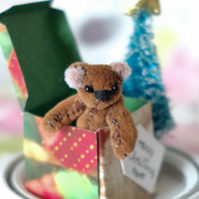 Bernard, miniature Christmas bear, hand sewn collectible bear in hanging dome