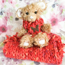 Pheobe, cosy autumn bear, hand sewn collectible artist bear with blanket