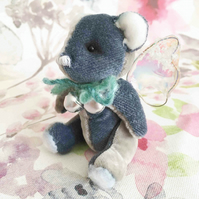 Patty, miniature blue fairy bear with tiny wings, hand sewn collectible bear