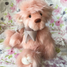 Rosie the pink snuggly bear, hand sewn collectible teddy bear