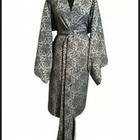 Classic Style Silver Brocade Hand Made UK Robe Original One Of A Kind Couture