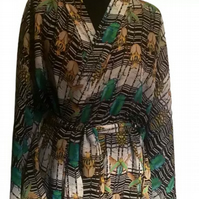 Hand made in UK Couture summer Kaftan kimono robe one of a kind Insect Beetle