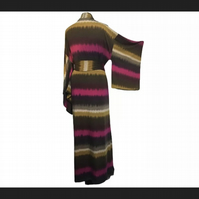 Warm Cosy Tie Dye Print Hand Made UK Robe Original One Of A Kind Couture