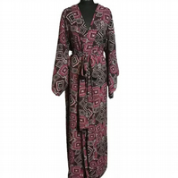 Floaty Chic Tribal Print Hand Made UK Robe Original Dressing Gown  Couture
