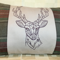 Tartan embroidered stag cushion