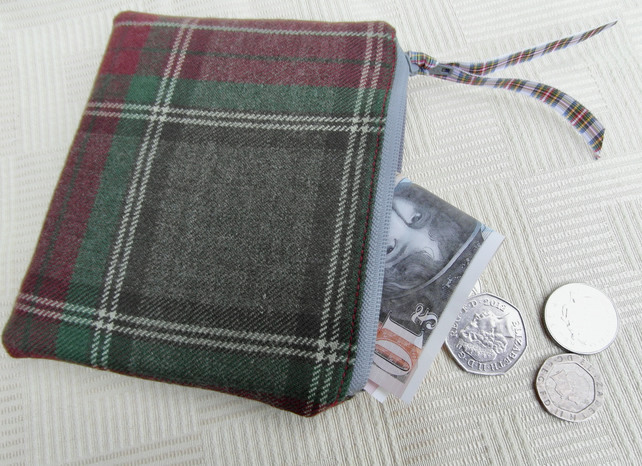 Wool tartan small purse