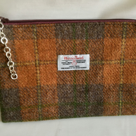 Harris Tweed zippered purse or bag in burnt orange plaid pattern