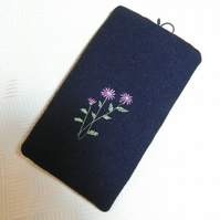 Black wool mobile phone case with floral embroidery