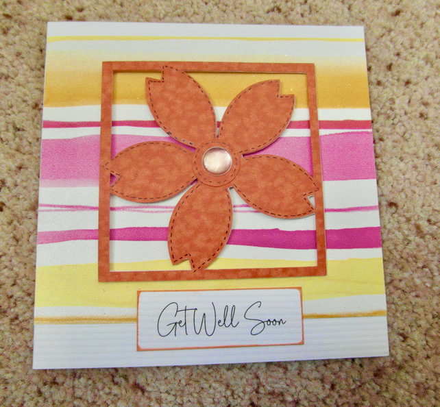 Square Get Well card in bright colours and flower. FREE postage