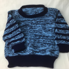 Boy's jumper age 3-4years in blue and navy yarn