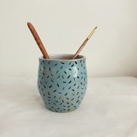 Small Blue Sprinkle Pot, Vase - Homethrown pottery and handmade ceramics