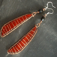 Poppy Red Glass and Wire Wrapped Copper Earrings with Jet Beads