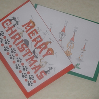 Cute Dog & Cat Christmas Cards Pack of 2