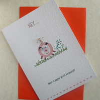 Little Pig Birthday Card with Copper Wire Curly Tail