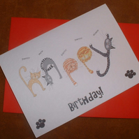 """Happy Cats"" Birthday Card"