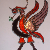 Stained Glass Liver Bird Suncatcher Wall Decoration