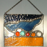 """Rock Pool"" Abstract Stained Glass Suncatcher"