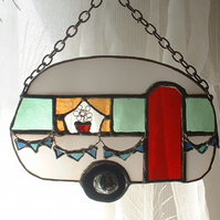 """Happy Camping"" Stained Glass Caravan Suncatcher Wall Art"