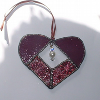 Vintage Heart Stained Glass Suncatcher
