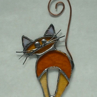 Stained Glass Marmalade Cat Suncatcher with Curly Copper Tail