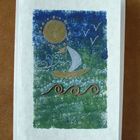 """Sailing"" Greeting Card with Copper Waves"