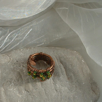 Forest Glade Elfin Wire Wrapped Ring with yellow & green seed beads
