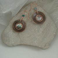 """Copper Moon"" Rustic Textured Earrings with Mother of Pearl"
