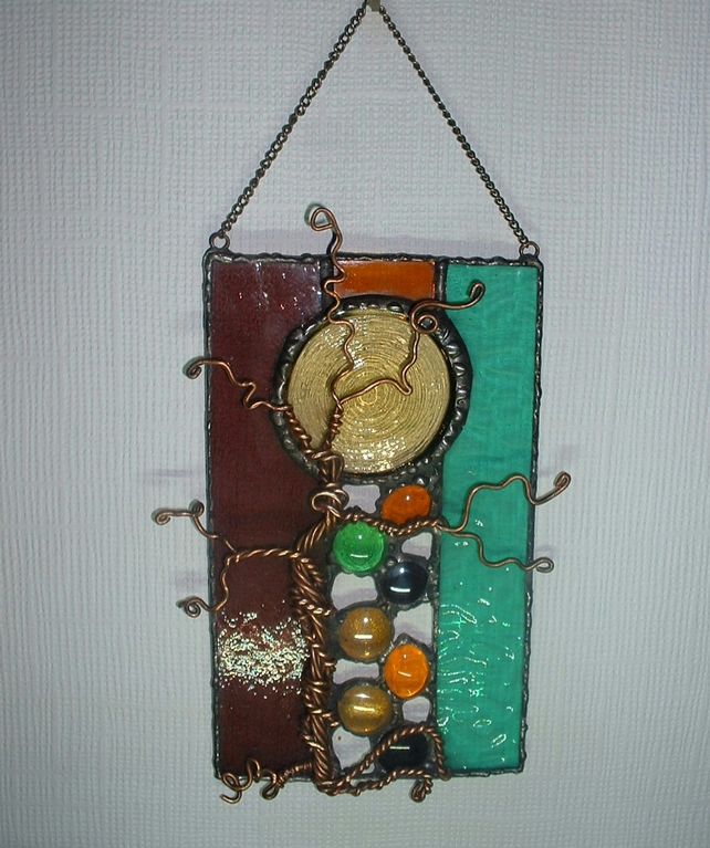 """Forest Light"" Abstract Stained Glass Suncatcher Wall Art"