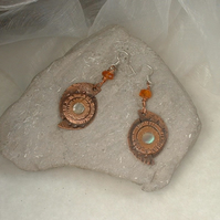 """Cosmic Planets"" Artisan Copper Earrings"