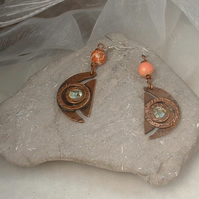 """Cosmic"" Copper Crescent Earrings with Mother of Pearl & Jasper Beads"
