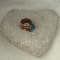 Rustic Textured Copper Ring with Blue Azurite Worry Bead