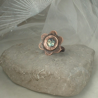 Rustic Copper Flower Ring with Mother of Pearl