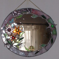 """Summer Meadow"" Decorative Stained Glass Mirror"