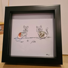 Cute and Quirky Glass Nugget Cat Portrait